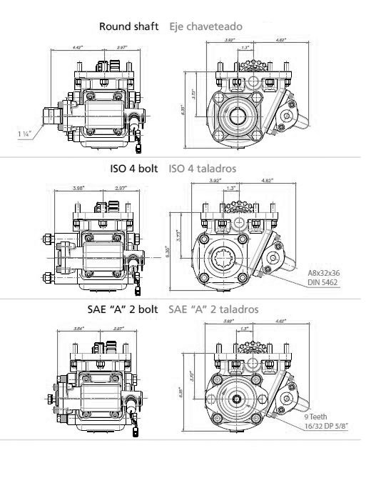 1000 SAE 6 Hole, Two Gear-Single Speed (Standard Mounting) - Bezares SA