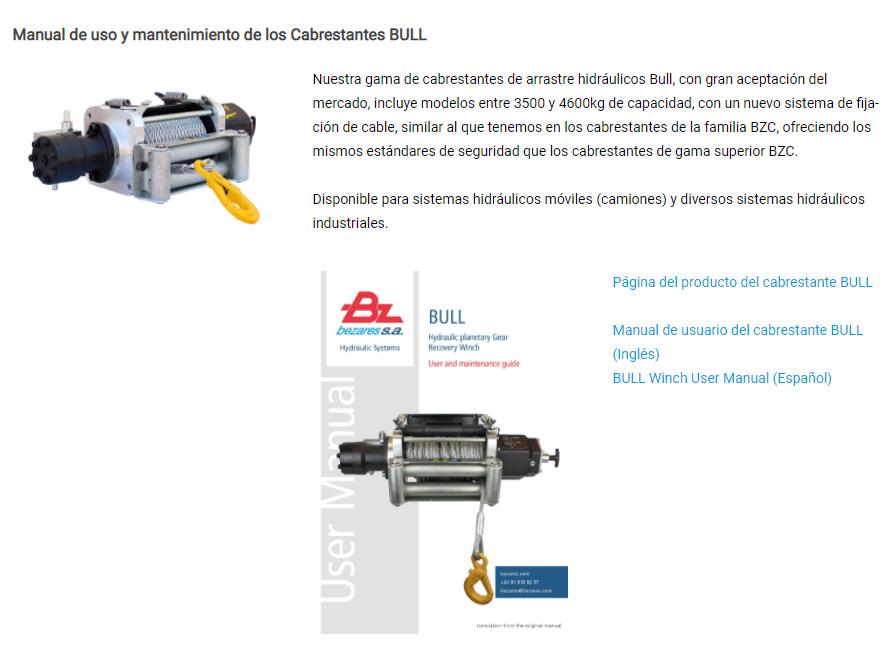 Nueva página de soporte para los cabrestantes BULL